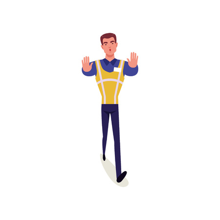Officer of traffic police in uniform with high visibility vest standing and showing stop hand gesture, policeman character at work vector Illustration on a white background