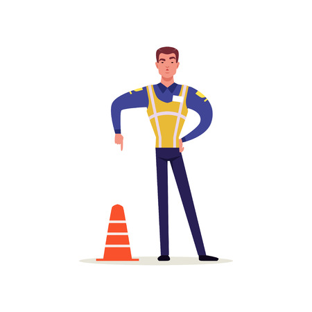 Officer of traffic police in uniform with high visibility vest standing and showing hand gesture with index finger down, policeman character at work vector Illustration on a white background