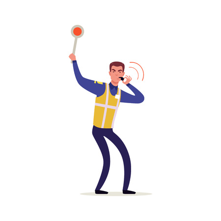 Officer of traffic police in uniform with high visibility vest holding traffic sign and whistling, policeman character at work vector Illustration on a white background
