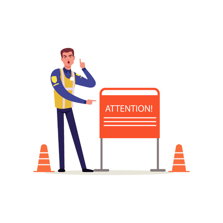 Officer of traffic police in uniform with high visibility vest pointing at attention sign, policeman character at work vector Illustration