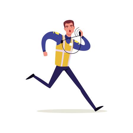 Officier van verkeerspolitie in uniform met hoge zichtbaarheid vest praten op zijn radio en hardlopen, politieagent karakter op werk vector illustratie