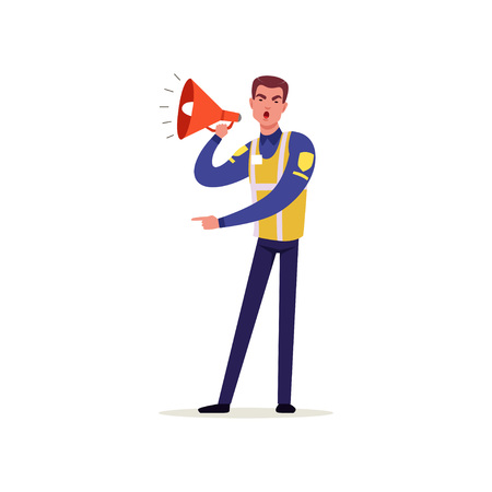 Officer of traffic police in uniform with high visibility vest using megaphone, policeman character at work vector Illustration