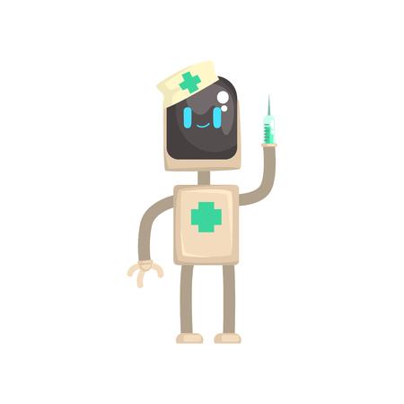 ロボットドクターキャラクター、その手に注射器を持つアンドロイド漫画ベクトルイラスト  イラスト・ベクター素材