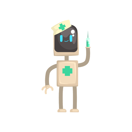 Robot doctor character, android with syringe in its hands cartoon vector illustration