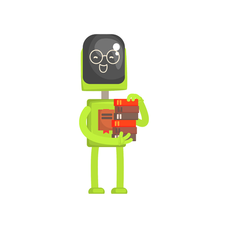 Robot librarian character, android with book in its hands cartoon vector illustration Иллюстрация