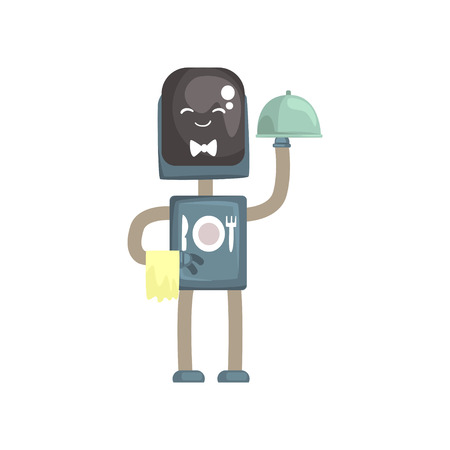 Robot waiter character, android with with cloche cartoon vector illustration