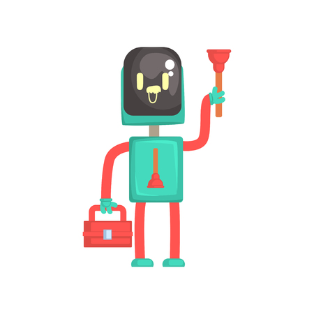 Robot plumber character, android holding tool box and plunger cartoon vector illustration isolated on a white background