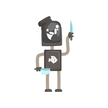 Robot werknemer karakter, android met messen om vis cartoon vectorillustratie te snijden geïsoleerd op een witte achtergrond