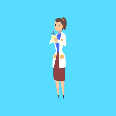 Vrouwelijke wetenschapper, arts of ingenieur stripfiguur in witte jas het maken van notities vector illustratie vector illustratie op een lichtblauwe achtergrond Stockfoto - 94395142