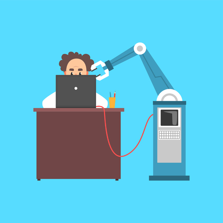 Male scientist cartoon character working with computer and robotic arm in a laboratory cartoon vector illustration. Иллюстрация