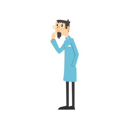 Scientist, doctor, engineer or astrophysicist cartoon character, man of science vector Illustration