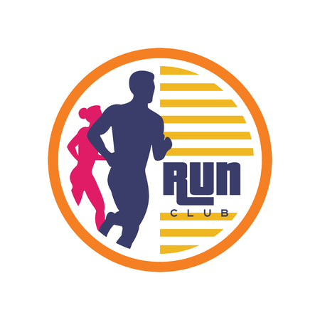 クラブテンプレート、抽象的なランニング男女のシルエットを持つエンブレム、スポーツクラブ、スポーツトーナメント、競技、マラソン、健康的