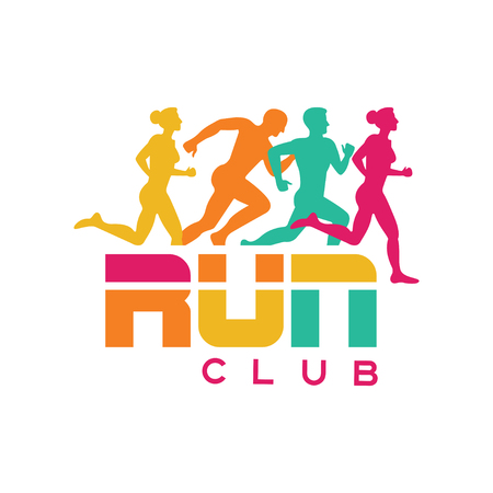 Run club logo template, colorful emblem with abstract running people silhouettes, label for sports club, sport tournament, competition, marathon and healthy lifestyle vector illustration on a white background