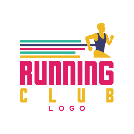 Running club logo, emblem with abstract running man, label for sports club, sport tournament, competition, marathon and healthy lifestyle vector illustration on a white background