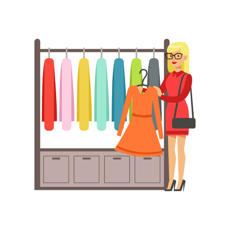 Woman choosing dress during shopping, beautiful girl buying clothing colorful vector illustration isolated on a white background Illustration