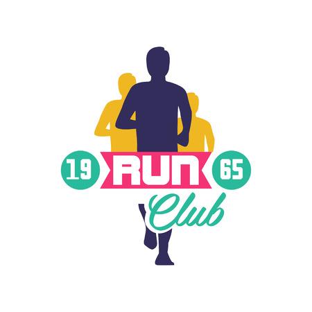 실행 클럽 로고 estd 1965, 추상적 인 실행 사람들 실루엣, 스포츠 클럽, 스포츠 대회, 경쟁, 마라톤 및 건강 한 라이프 스타일에 대 한 레이블 엠 블 럼 흰 일러스트