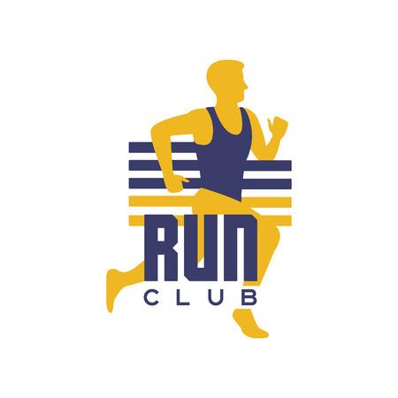 クラブロゴテンプレート、ランニングマン付きエンブレム、スポーツクラブのラベル、スポーツ大会、競技、マラソン、健康的なライフスタイルベ