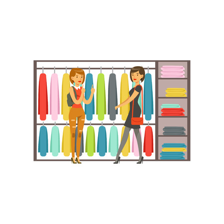 Women choosing dresses during shopping, beautiful girls buying clothing colorful vector illustration isolated on a white background Illustration