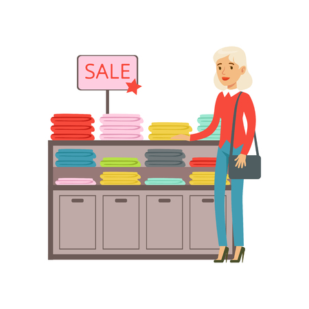 Senior woman choosing clothing during shopping vector illustration isolated on a white background Illustration