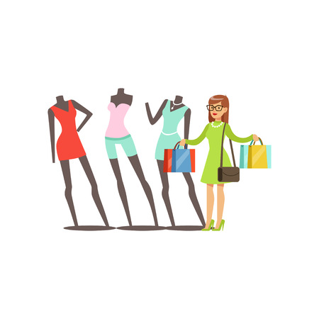 Young woman choosing clothes on mannequins in a shopping mall vector illustration isolated on a white background