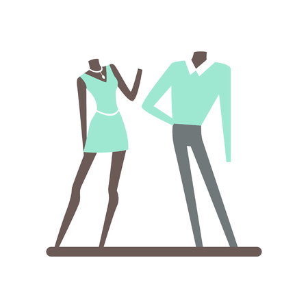 Mannequin in clothes in a mall colorful vector illustration isolated on a white background Illustration