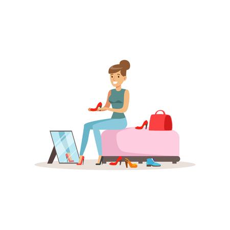 Junge Frau, die auf Schuhen, Mädcheneinkaufen in einer bunten Vektorillustration des Einkaufszentrums lokalisiert auf einem weißen Hintergrund versucht Standard-Bild - 94395571