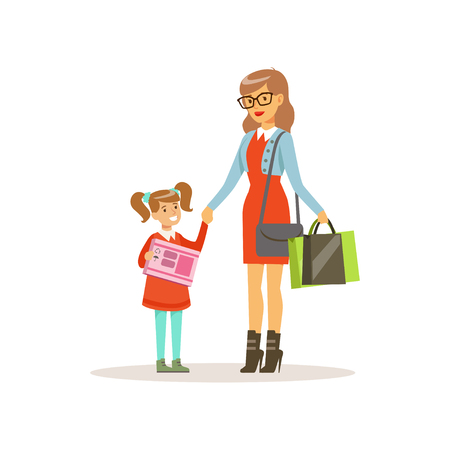 Young woman shopping with her daughter in a shopping mall colorful vector illustration