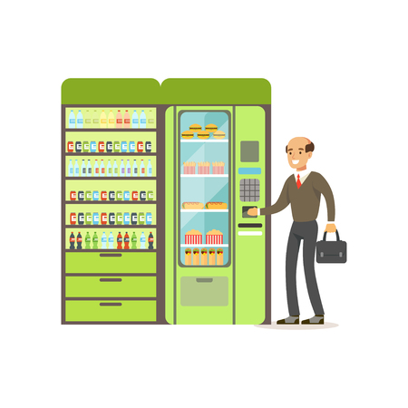 Businessman using automatic vending machine with fast food vector Illustration isolated on a white background Stock Illustratie