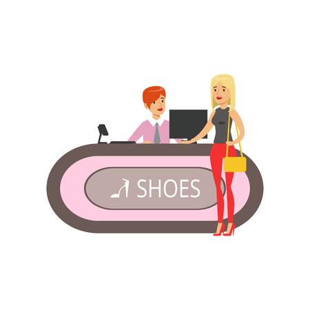 Young woman buying shoes in a shoe store, girl shopping in a mall colorful vector illustration isolated on a white background Standard-Bild - 94395584