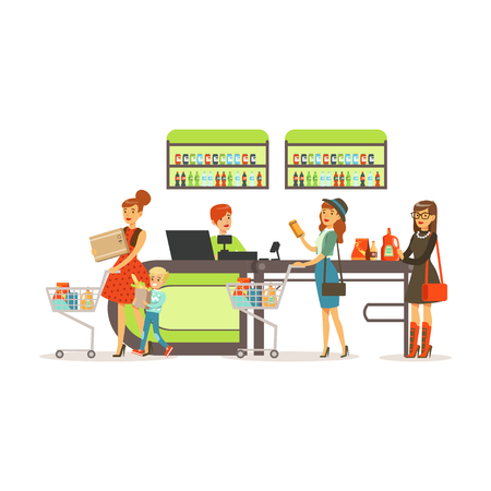 People shopping in supermarket, women paying purchase at cashier desk colorful vector illustration isolated on a white background