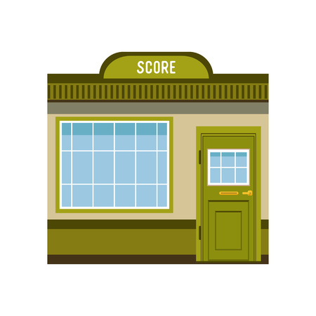 Small city building facade, commercial building vector Illustration on a white background