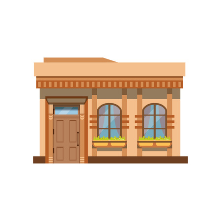 Cafe shop or restaurant facade, front view of store vector Illustration