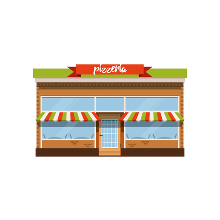 Pizzeria cafe, small store shop facade vector Illustration