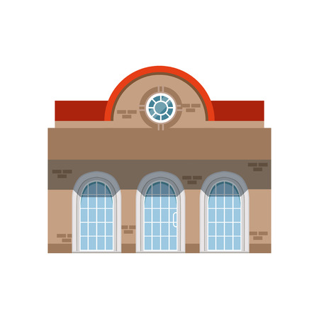 Store shop front window building, public building facade vector Illustration Vettoriali