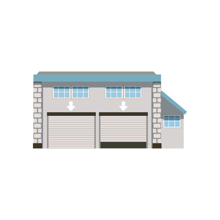 Modern industrial unit with roller doors, warehouse or garage building vector Illustration