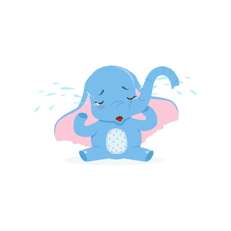 Cute upset baby elephant sitting and crying, funny jungle animal character vector illustration.