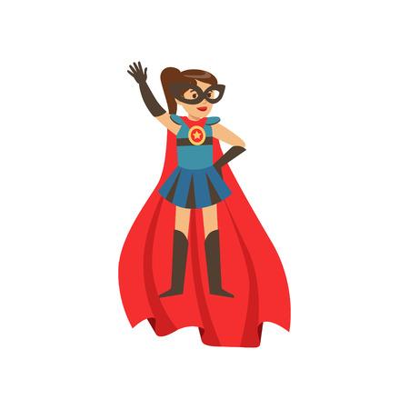 Superheld meisje karakter gekleed in blauw kostuum met rode cape staan met haar hand omhoog cartoon vectorillustratie geïsoleerd op een witte achtergrond