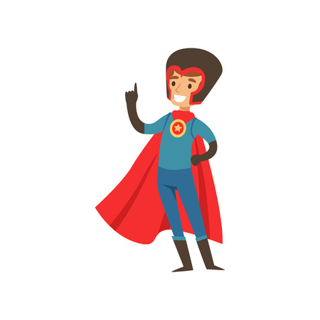 Superhero boy character dressed in blue costume, red cape and black helmet standing with raised index finger cartoon vector Illustration