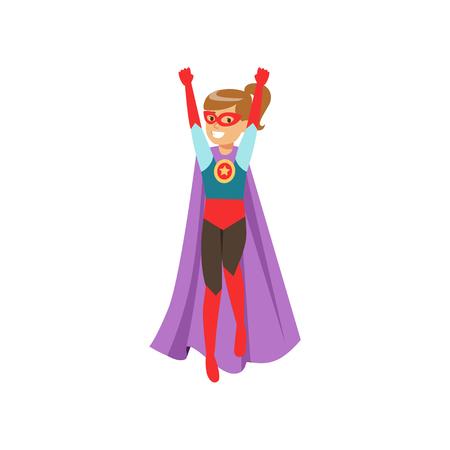 Het leuke meisjeskarakter kleedde zich aangezien een super held zich met haar handen ophief beeldverhaal vectorillustratie
