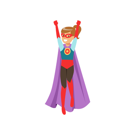Cute girl character dressed as a super hero standing with her hands raised cartoon vector Illustration