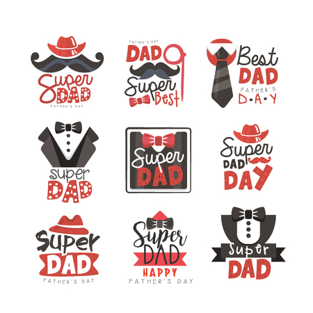 Super Dad set, Fathers Day vector illustrations Ilustração