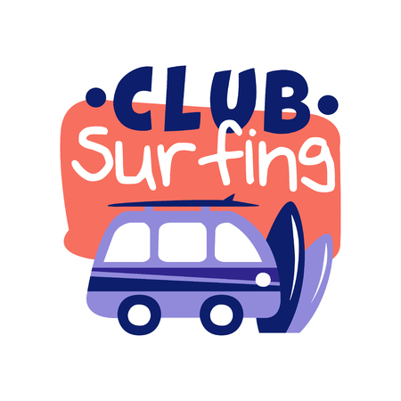 Surfing club, surf retro badge vector Illustration