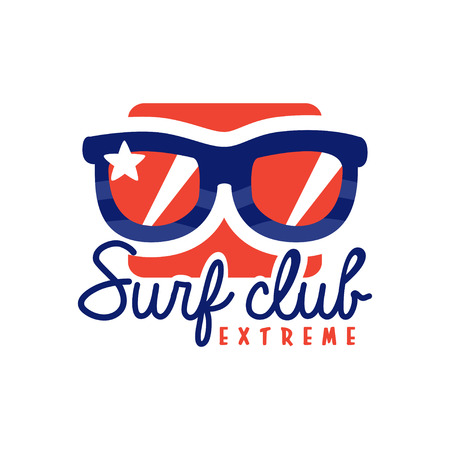 Extreme surfing club, windsurfing retro badge with sunglasses vector Illustration