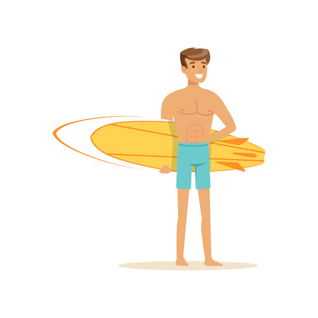 Smiling man standing on the beach with yellow surfboard, water extreme sport, summer vacation vector Illustration