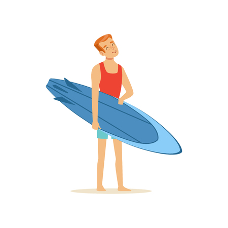Cheerful man standing on the beach with blue surfboard, water extreme sport, summer vacation vector Illustration