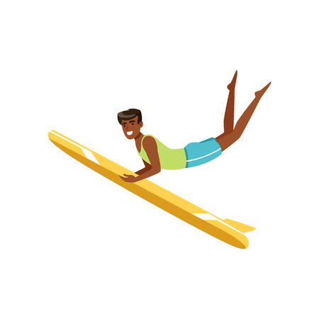 Happy African American man surfing, water extreme sport, summer vacation vector Illustration on a white background.