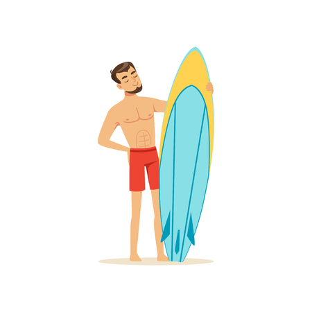 Cheerful man standing on the beach with surfboard, water extreme sport, summer vacation vector Illustration Imagens - 94401868
