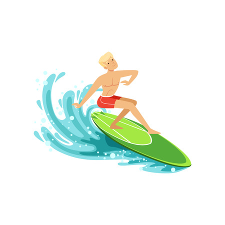 Male surfer riding a wave, water extreme sport, summer vacation vector Illustration on a white background.