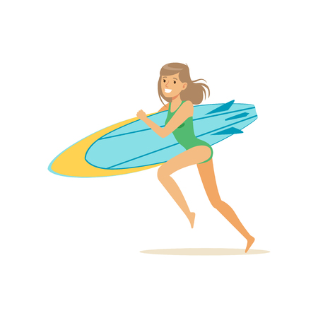 Happy girl running on the beach with surfboard, water extreme sport, summer vacation vector Illustration on a white background