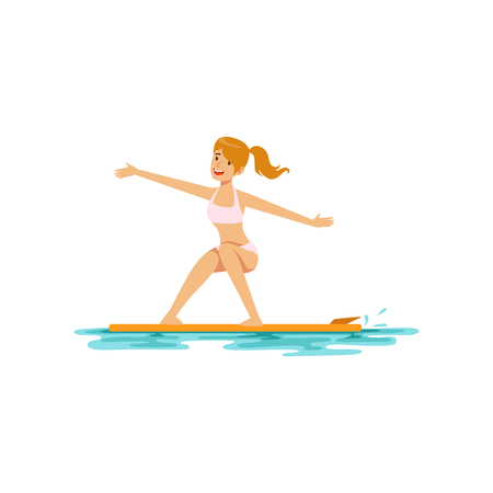 Beautiful girl surfing, water extreme sport, summer vacation vector Illustration